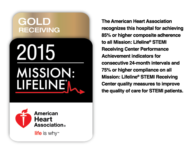 UConn Health is a 2015 winner of the American Heart Association's Mission: Lifeline Gold Receiving Quality Achievement Award for treatment of heart attack patients at John Dempsey Hospital.