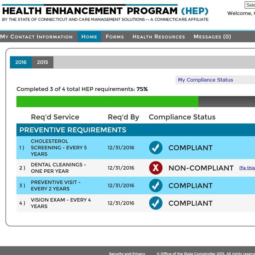 A screenshot from the Health Enhancement Program online portal.