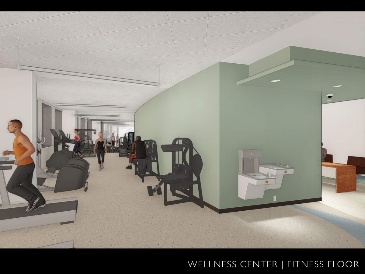 Fitness area of the Wellness Center in the newly renovated academic building
