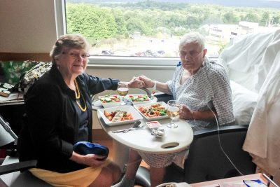 Food and Nutrition Services prepared a special meal on white china for the Dixon's 60th wedding anniversary.