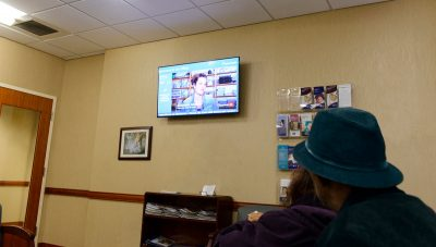 The Pulmonary Department waiting room where a new TV monitor has been installed in partnership with AccentHealth, a healthcare media company that provides healthy living video programming. (Photo by Janine Gelineau)