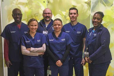 UConn Health transport aides (from left): Howard Fairley, Anna Kustra, Brian Schramm, Gabriela Buksza, Sean Reynolds, and Gwen Williams